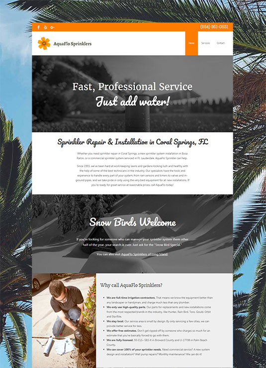 Website for AquaFlo Sprinklers in Coral Springs, Florida