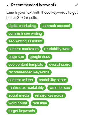 all green - the best feature I found in my review of SEMrush's SEO writing assistant