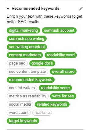 recommended keywords from SEMrush SEO writing assistant