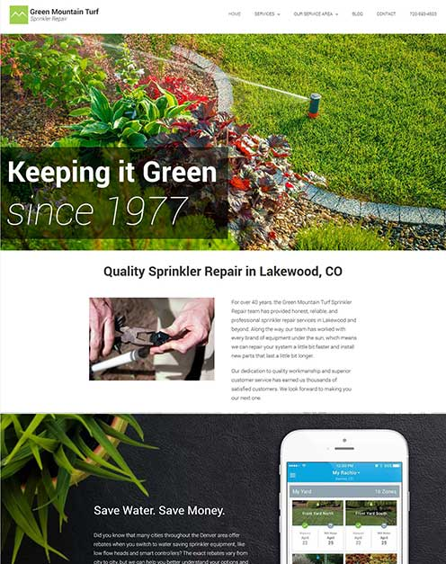 irrigation contractor marketing - web design for Green Mountain Turf
