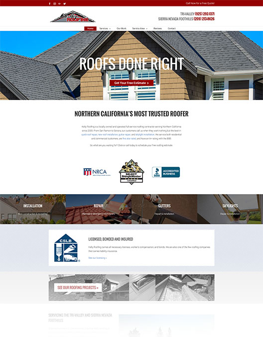 Web design & SEO for Kelly Roofing, a roofer in Northern California