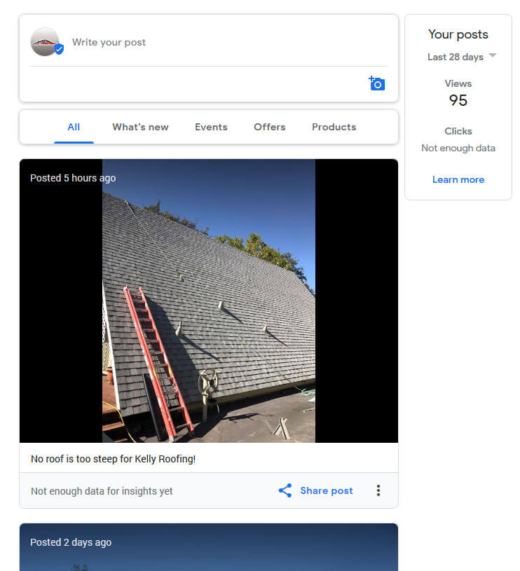 Not enough data on Google Posts for a roofing contractor