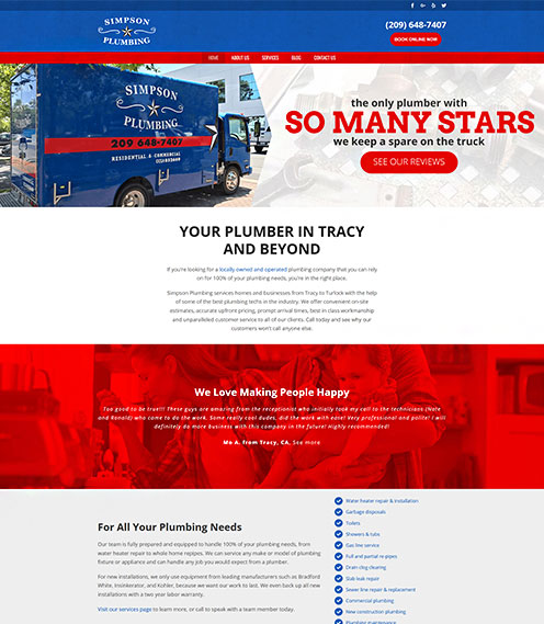 Website for plumbing company in Tracy, California