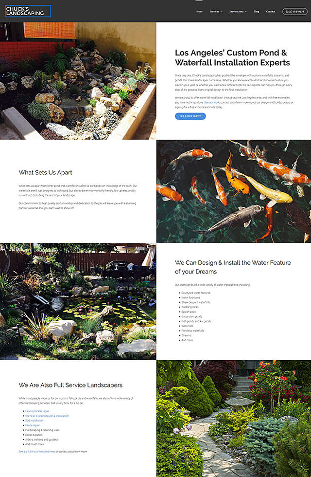 Website for Chuck's Landscaping in Canoga Park, California