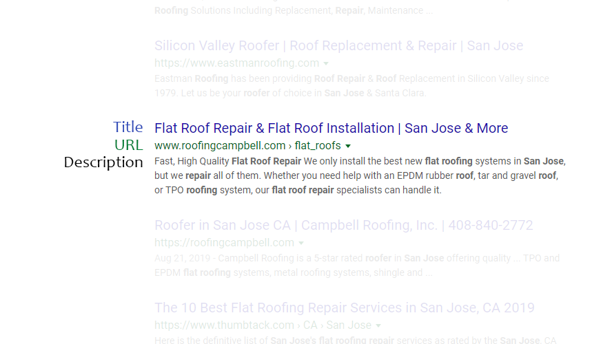 Search engine results for a roofing website